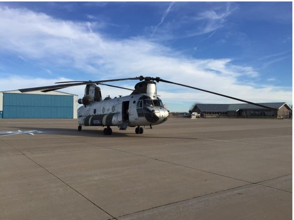 Boeing manufactured heavy lift helicopter: Chinook CH-47