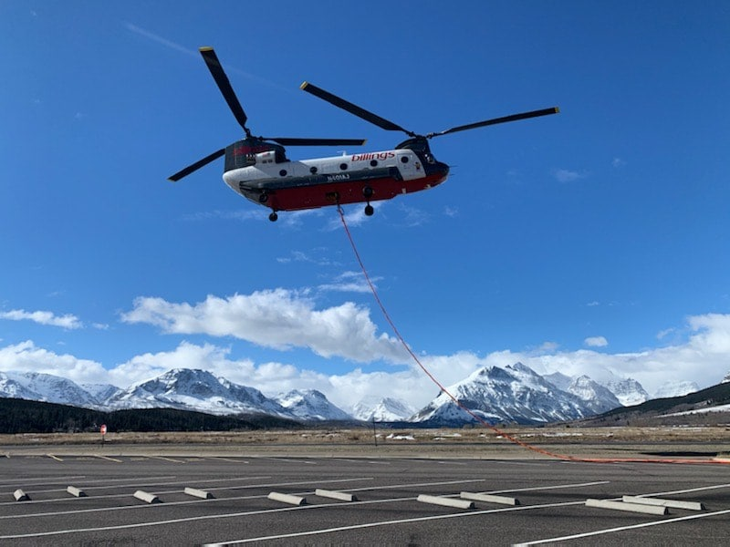 Chinook flying at high altitude