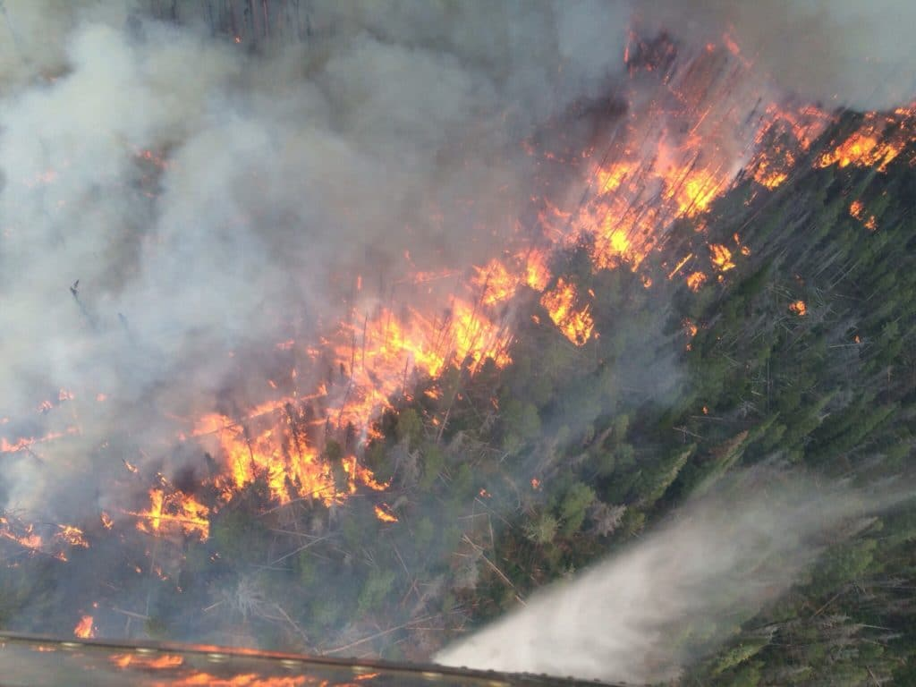 aerial firefighting view from helicopter