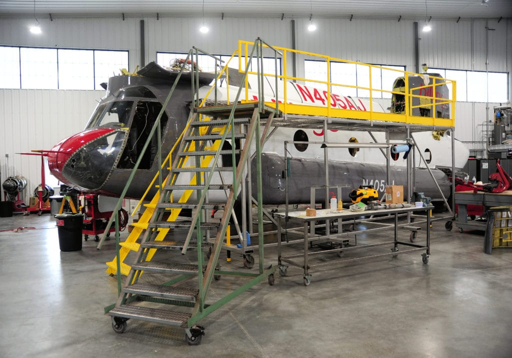 Maintenance operation on CH-47D CHinook Helicopter