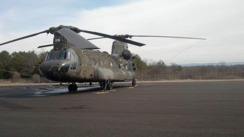 Green Camo Ch-47D Chinook Helicopter landed