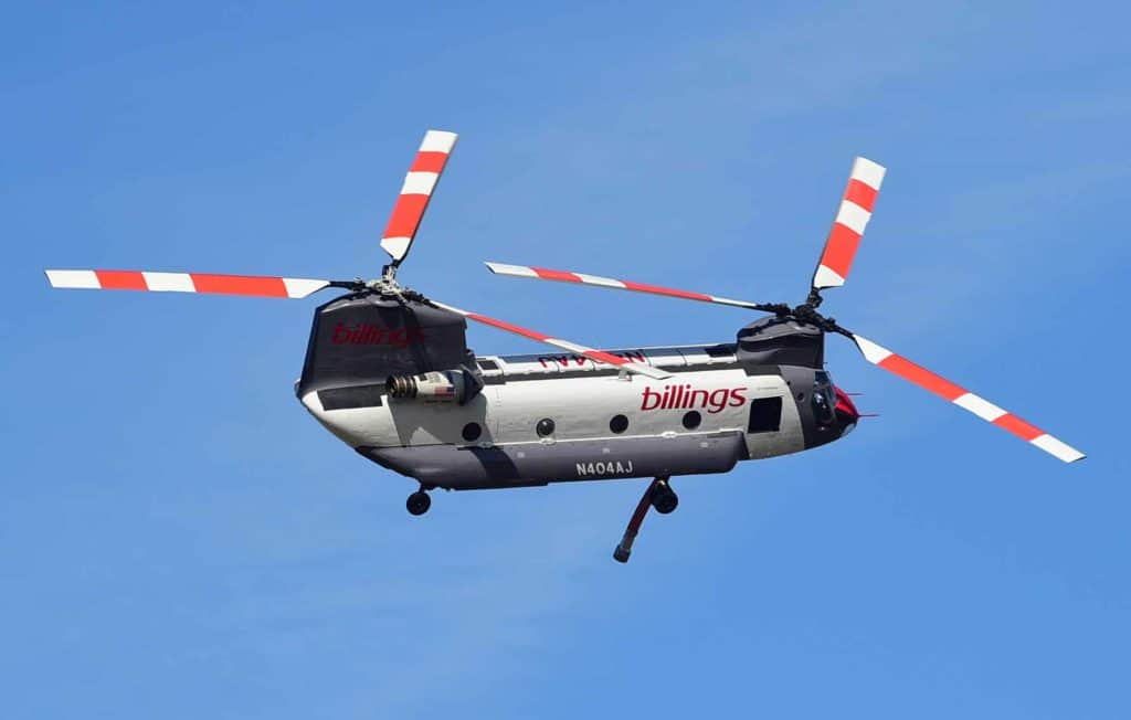 Chinook helicopter during aerial fire fighting mission
