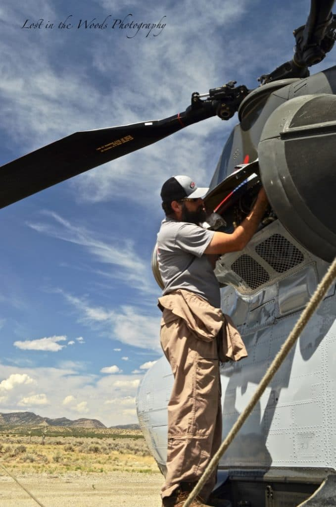Mechanic working on Chinook Helicopter
