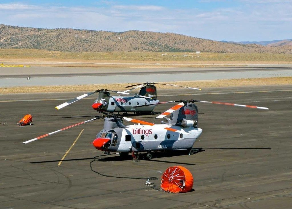 Two Chinook helicopters prepared to deploy