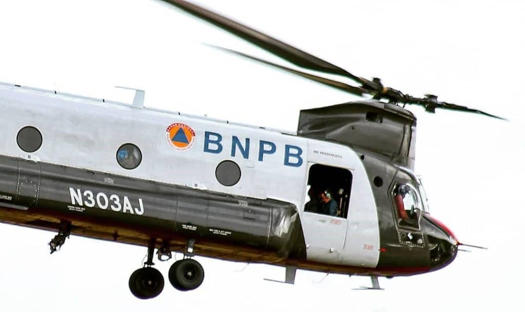 CH-47D Chinook helicopter during international mission for Indonesia nature disaster