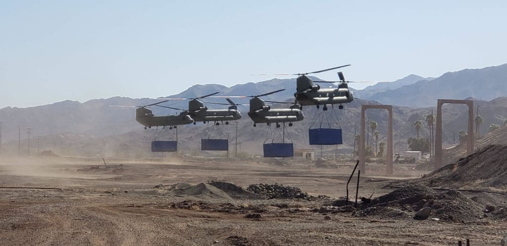 Chinook Helicopters heavy lift cargo for 2020 Tenet production